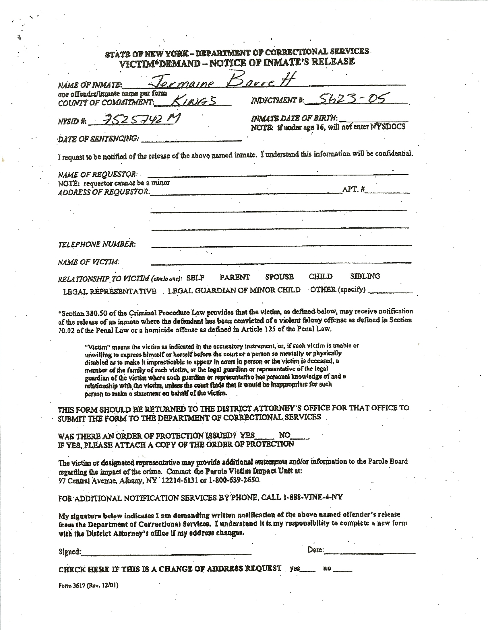 Sample Inmate Jail Release Form